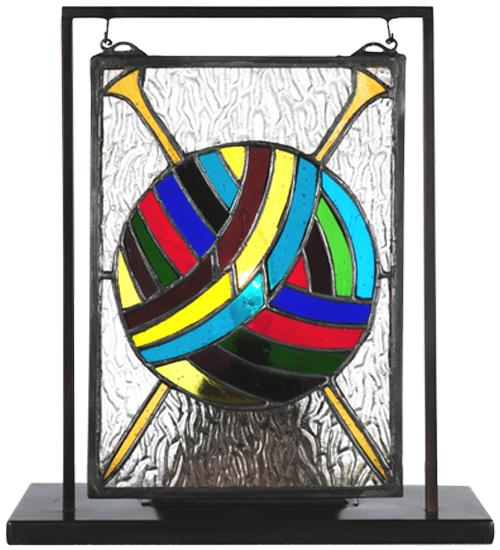 "Meyda Tiffany 68898 - 6""W X 9""H Ball of Yarn W/Needles Lighted Mini Tabletop Window"