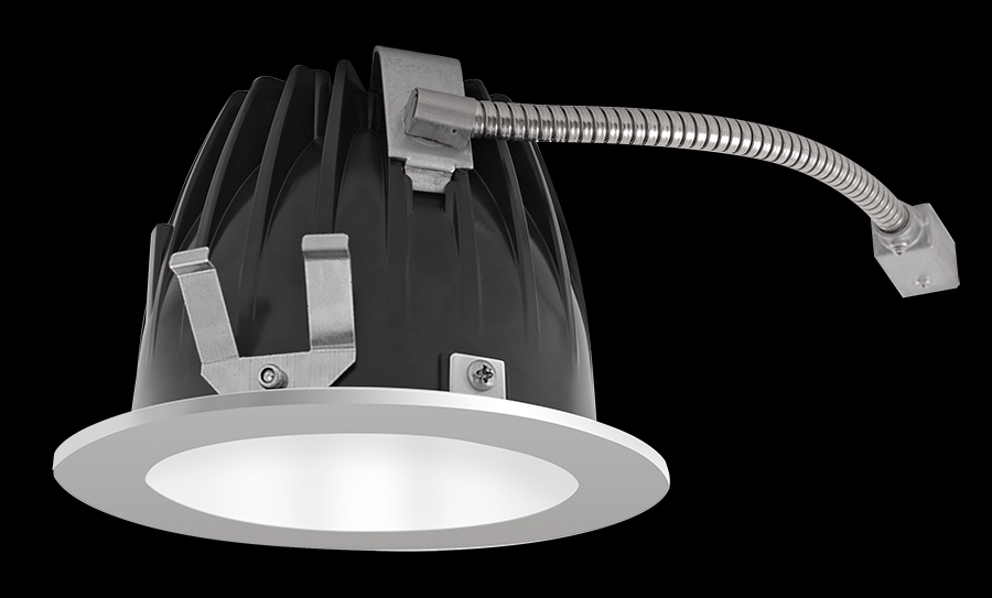 "RAB Lighting NDLED4R-80YN-W-S - FINISHING SEC 4"" ROUND 3500K LED 80 DEGREES WHITE CONE SILVER RING"
