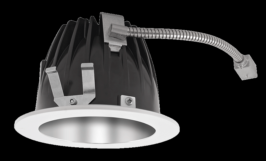 "RAB Lighting NDLED4R-50Y-S-W - FINISHING SEC 4"" ROUND 3000K LED 50 DEGREES SPECULAR CONE WHITE RING"