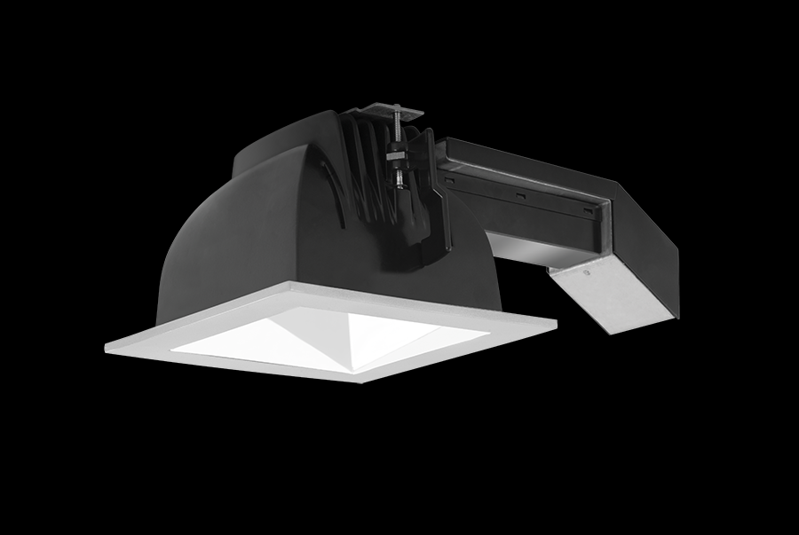 "RAB Lighting RDLED6S20E-50Y-W-S - REMODELER 6"" SQUARE 20W 3000K DIM ELV 50 DEGREES WHITE CONE SILVER RING"