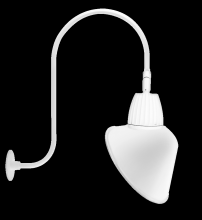"RAB Lighting GN3LED26YSACW - GOOSENECK UPCURVE 30"" HIGH, 25"" FROM WALL 26W WARM LED 15"" ANGLED CONE SHADE SPOT REFLEC"