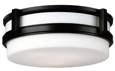 Forecast F611133 - Three-light Ceiling in Wrought Iron finish with etched white opal glass