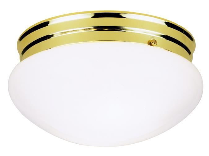 Westinghouse 6660900 - 2 Light Flush Polished Brass Finish with White Glass
