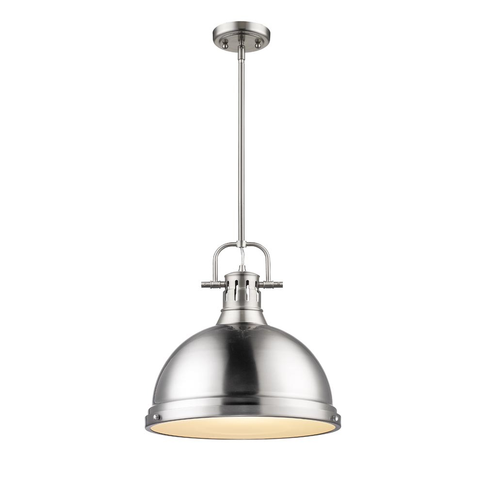 Golden 3604-L PW-PW - 1 Light Pendant with Rod
