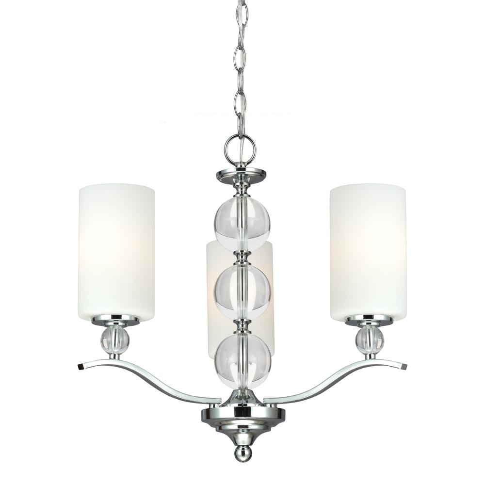 Sea Gull 3113403BLE-05 - Fluorescent Englehorn Three Light Chandelier in Chrome with Etched Glass Painted White Inside