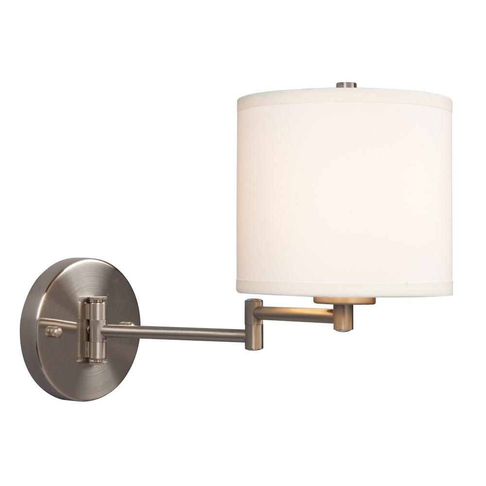 Galaxy Lighting 213041BN - Wall Sconce w/ Swing Arm- Brushed Nickel with Off-White Linen Shade