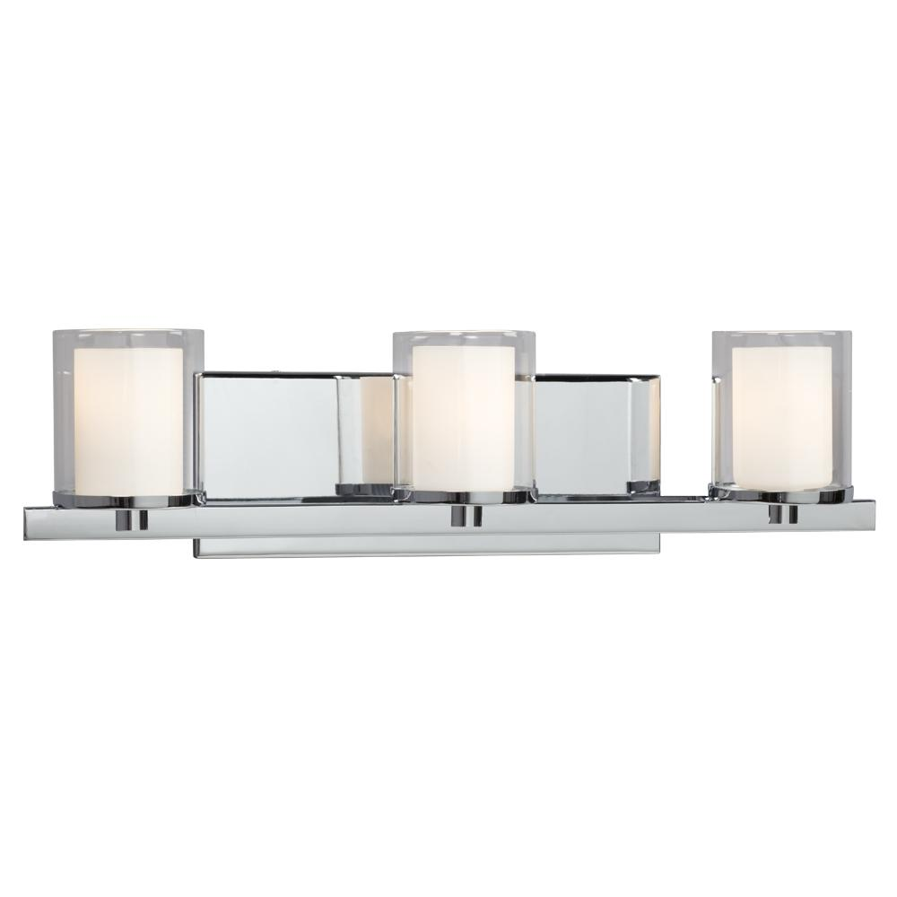 Galaxy Lighting 718778CH - 3-Light Vanity in Polished Chrome with Satin White Inner Glass & Clear Outer Glass
