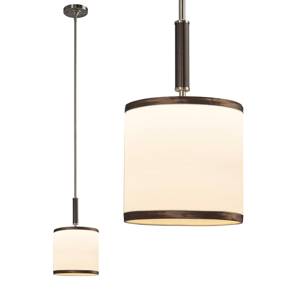 "Galaxy Lighting 913194BN - Mini Pendant with 6"",12"",18"" Extension Rods - Brushed Nickel with Ivory White Linen Shad"