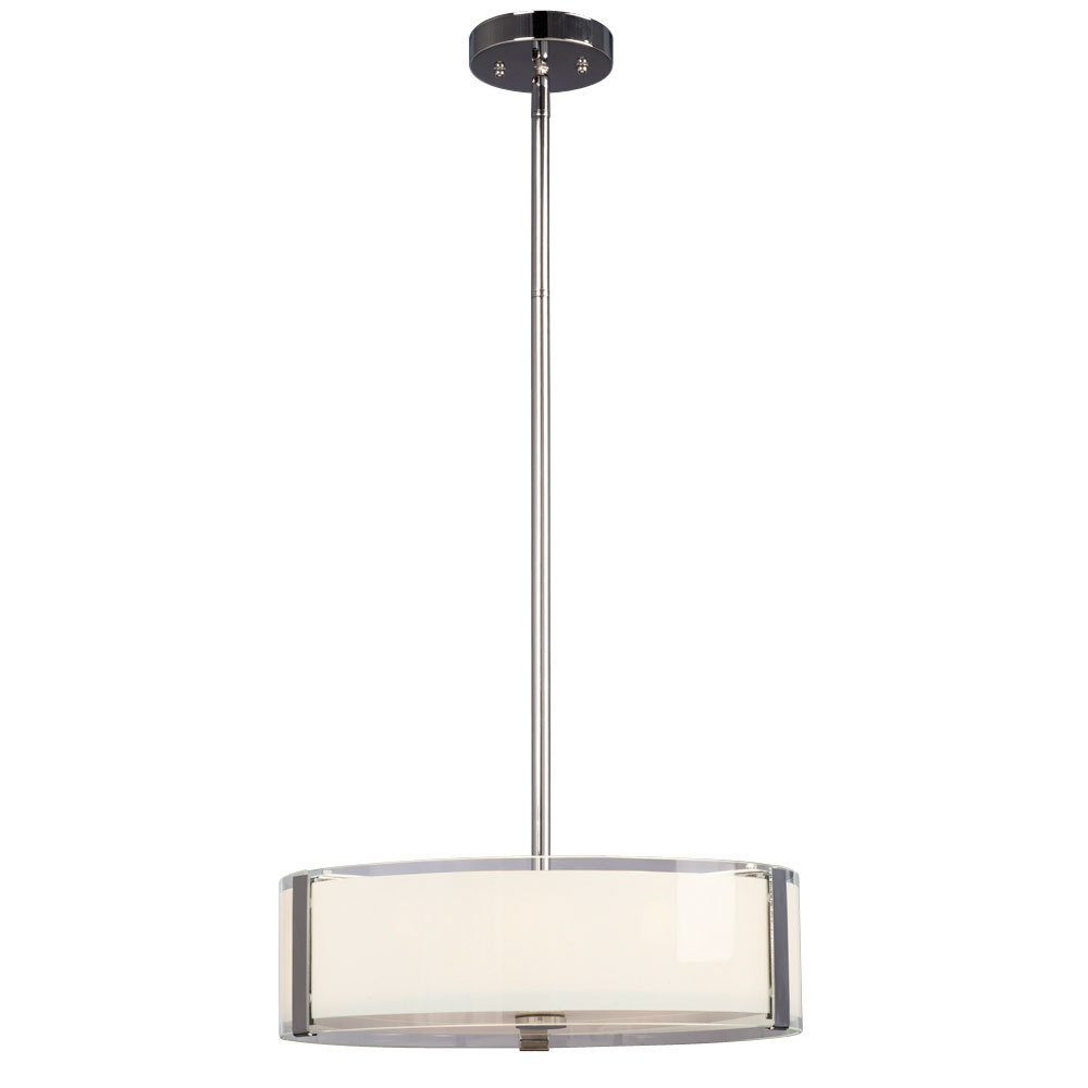 "Galaxy Lighting 914291CH - 4-Light Pendant - Polished Chrome with White Opal/Clear Glass (incl. 6"", 12"" & 18"" Exten"