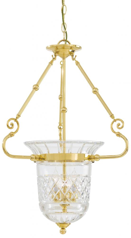 Minka Metropolitan n1196 - Brass Crystal Cut Clear Glass Foyer Hall Pendant