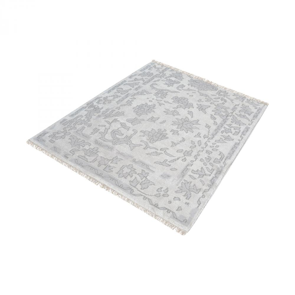 Dimond 8905-284 - Harappa Handknotted Wool Rug In Silver And Ivory