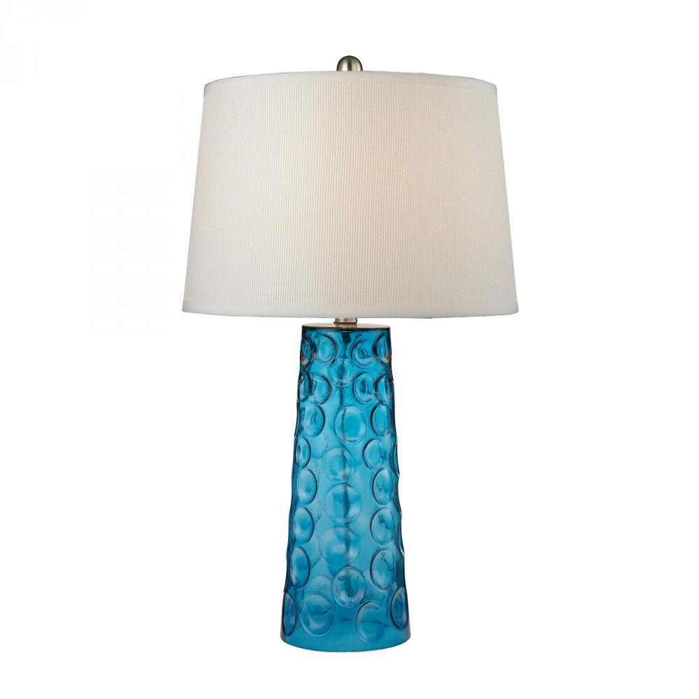 Dimond D2619 - Hammered Glass Table Lamp in Blue With Pure White Linen Shade